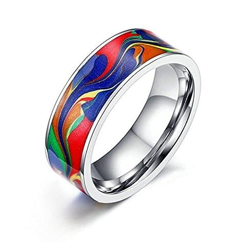 Daesar Herren Edelstahl Ring Silber Bunte Vintage Ring 7MM Verlobungsring Trauringe Gr. 54 (17.2) (80er Kostüme Bilder)