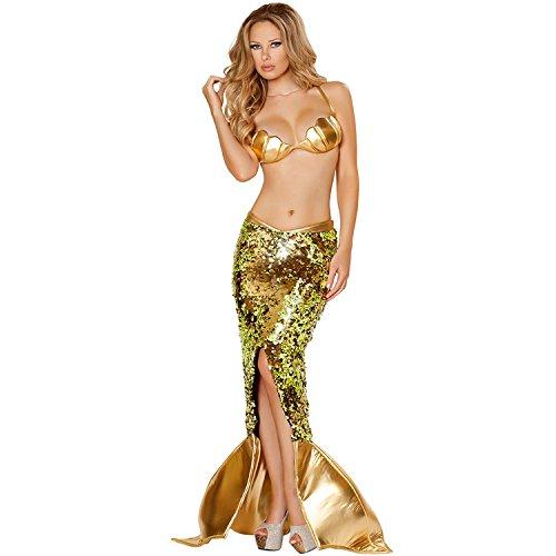 FGDJTYYJ Halloween-Kostüm/Meerjungfrau Abendkleid/Pailletten/Flash Farbe/Split, s (Weiblich Flash Kostüm)