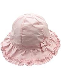 Sumolux Bonnet Chapeau de Soleil Chapeau de Plage Anti UV en Coton Rose Mignon Pour Enfant Bebe Bébé Fille 0-3 Ans en Printemps Eté