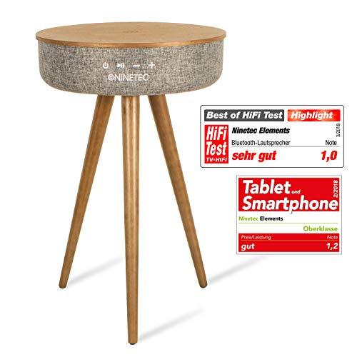 NINETEC Elements Premium Bluetooth Home Design Speaker und Tisch Walnuss