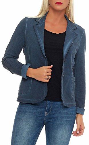 Malito Damen Blazer im Washed Style | Sakko im Basic Look | Kurzjacke mit Knöpfen | Jacke - Jackett - Blouson 1652 (dunkelblau, M)