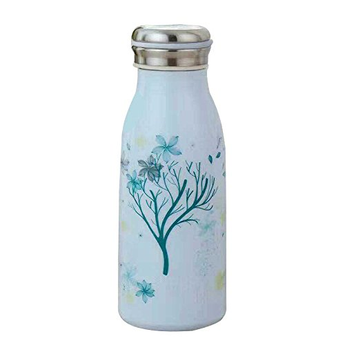 High Quality Flower Tree Printed Blue Designer Bottle With Air tight cap for Water, Milk, and Juice– 300ml