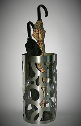 Schirmständer Design Circle, 49 x Ø 22,5 cm, Edelstahl mattiert, Marke: Szagato, Made in Germany (Regenschirmständer, Schirmhalter, Regenschirmhalter gebürstet)