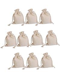 Lot de 10pcs Pochette à Bijoux Sac Cadeau à Cordon Coulissant Sachet en Jute