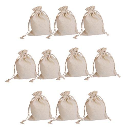 12814545e 10pcs Bolsas de Regalo Saco de Joyas de Arpillera Cordón para Boda