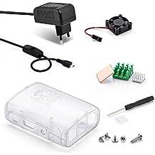 Aukru Transparente Caja + Micro USB 5V 3000mA Cargador con interruptor + Disipador de calor + Mini Fan para Raspberry Pi 3 Modelo B