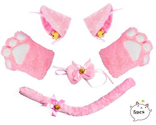 Beelittle Katze Cosplay Kostüm Kätzchen Ohren Schwanz Kragen Pfoten Katze Cosplay Sammlung 5 Pack - Kätzchen Kostüm Tragen