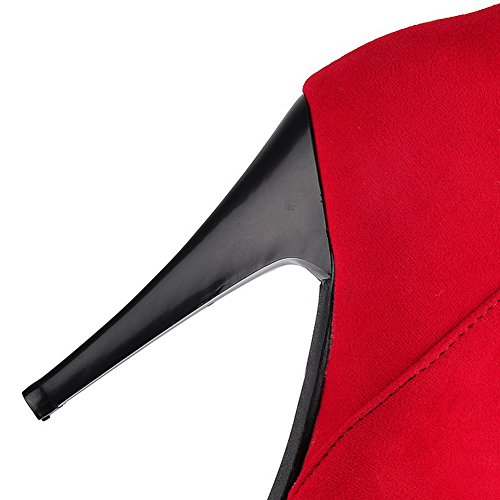 AgooLar Femme Rond Haut Bas à Talon Haut Couleurs Mélangées Bottes avec Pendentif Rouge