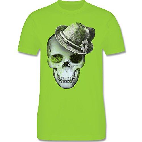Oktoberfest Herren - Totenkopf mit Filzhut - Herren Premium T-Shirt Hellgrün