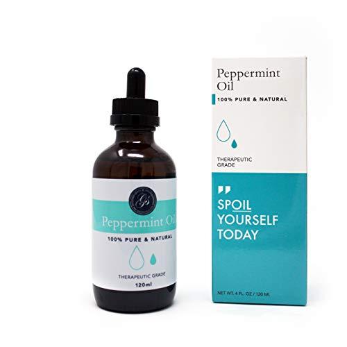 Natürliches Ätherisches Peppermint Oil Pfefferminzöl | Reines & Natürliches Große 120ml | Therapeutische Qualität | Ätherisches Öl | Minzöl Massagetherapie, Aromatherapie, Hautpflege, Raumduft -