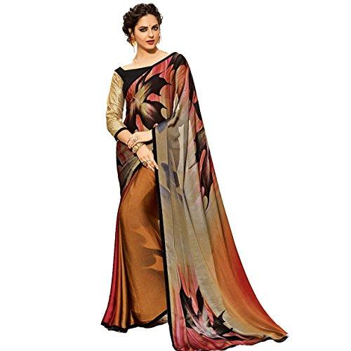 Craftsvilla Women's Georgette Saree With Blouse Piece(Multicolor ,Free Size)