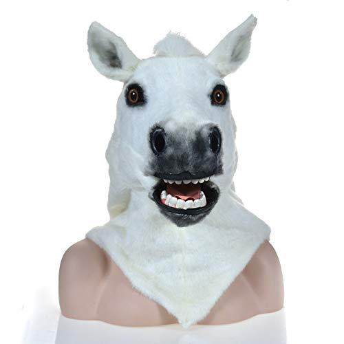 WENQU Fabrik Abteilung Fell Tier Karneval beweglichen Mund Maske weißes Pferd Masken (Color : White, Size : 25 * 25)