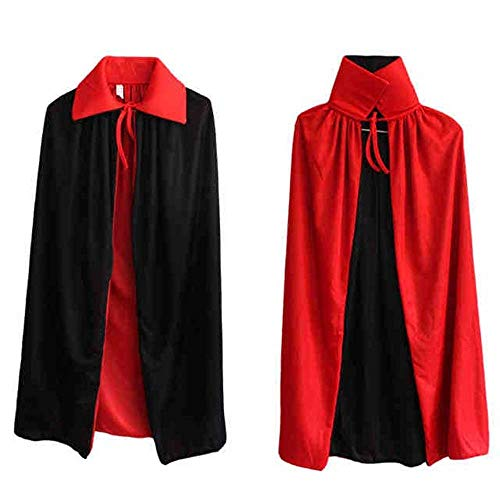 BulzEU Wende schwarz rot Halloween Umhang Mäntel Schal Teufel Vampir Wizard Erwachsene Kinder Cosplay Kostüm Kleid Masquerade Weihnachten Party (Masquerade Kostüm Für Jungen)