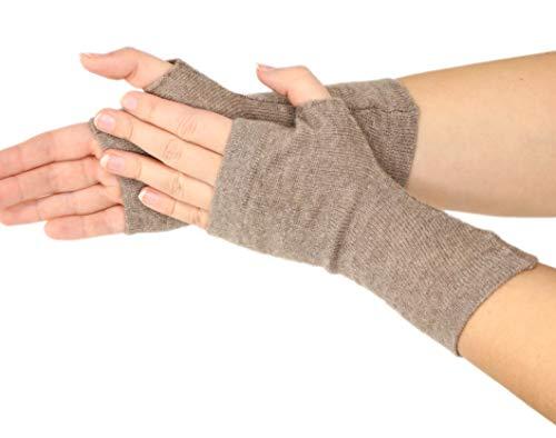 Prettystern - gestrickte 100% Kaschmir Fingerlose Handschuhe Pulswärmer Stulpen Weich Warm - Wolle Braun Warme Wolle Handschuhe