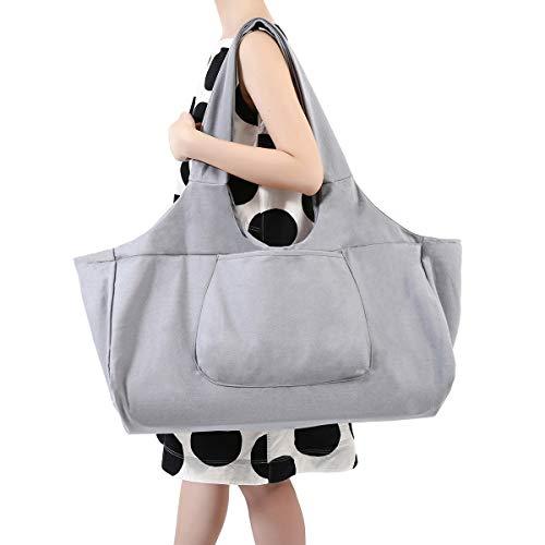 Slimerence Yogatasche, Oversize Yoga Kit Tasche aus 100{24c7b4233a4b2b24a4f6e1ea22e9dcc44a5e8e994cbe42b8db69701807d31c51} feine Leinwand - Multifunktionale Aufbewahrung wie Yoga-Matte, Yoga Roller, Handtuch, Handy Pilates Tasche, Sport Ausrüstung Tasche Grey