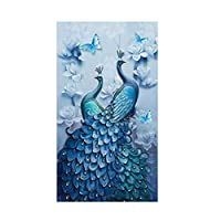 Diamond Painting Full Square 5D DIY Drill Peacock Lucky Bird DP Rhinestone Embroidery Arts Craft Paint-By-Number Kits cross stitch for Home Decoration 45x75cm (Peacock)