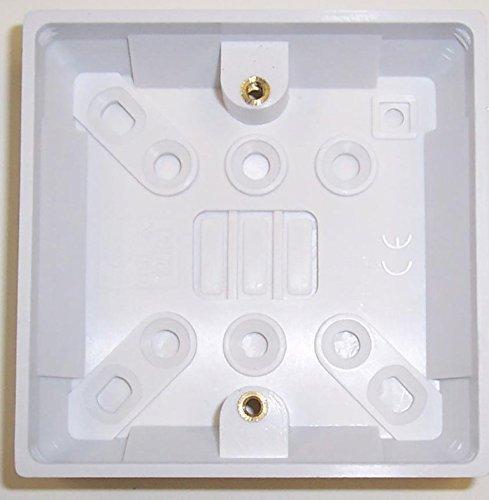 Single Surface Socket Back Box Pattress 25mm White by Palmer Riley Single Surface Box