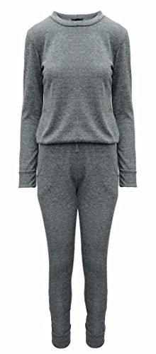Da donna Tinta unita loungewear Set Due Pezzi Pantaloni Tuta Light Blue 40