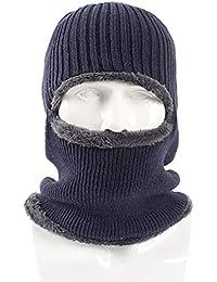 Zmigrapddn lana Beanie Cap colore solido antivento maschera da sci caldo  invernale a maglia passamontagna cappello per uomo 664d309c19e9