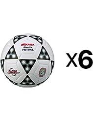 Mikasa America Futsal Ball, Low Bounce Soccer Ball-Size 4, Black/White (6-Pack)