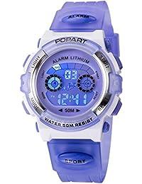 Reloj infantil para niño niño niña LED multifunción deportes al aire libre vestido digital impermeable alarma morado