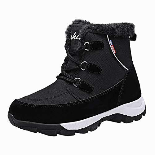 GNYD Damen Stiefeletten Winter rutschfest Outdoor Verschleißfest Boots Elegante Winter Cotton Slip-On SchnüRschuhe Warm Casual Snow Booties