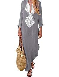e3a5975ca767 ZIYYOOHY Kaftan Vintage Women s Cotton V Neck Long Sleeve Ethnic Print Maxi  Dress Long Dress