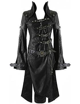Punk Rave Negro Sombra Chaqueta Mujer Gótico Steampunk Piel Sintética Abrigo