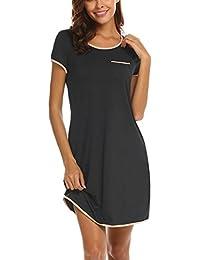 e29419d7a044ef MAXMODA Damen Nachthemd aus Baumwolle Nachtwäsche Kurzarm Rundhals  Schlafhemd mit Vordertasche