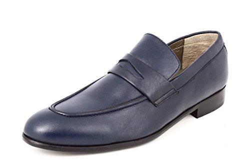 belym Mocassin Chaussures Hommes de Ville en Cuir Bleu Marine Bleu Marine