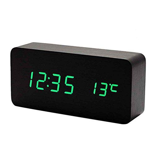 Kakiyi LED-Wecker Temp Datum Zeit elektronische Digital-Tabellen-Desktop Bambus-Holz-Uhren Sonic Modern Home Decor