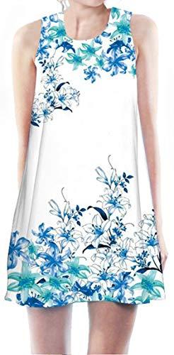 Ocean Plus Mädchen Sommer Flamingo Strandkleider Urlaub Weich Einhorn Druck Sommerkleid Ärmelloses Kleid Cover Up Pareos (Referenzhöhe: 120cm), Kleine Blaue Blumen