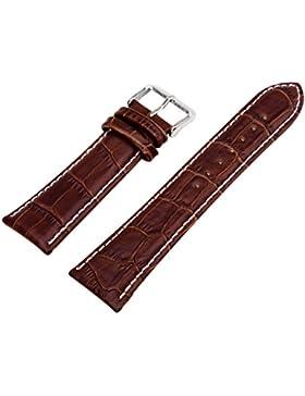 20mm Geniune Leder Braun Uhrband Uhrarmband Watch Strap Band Damen Herren