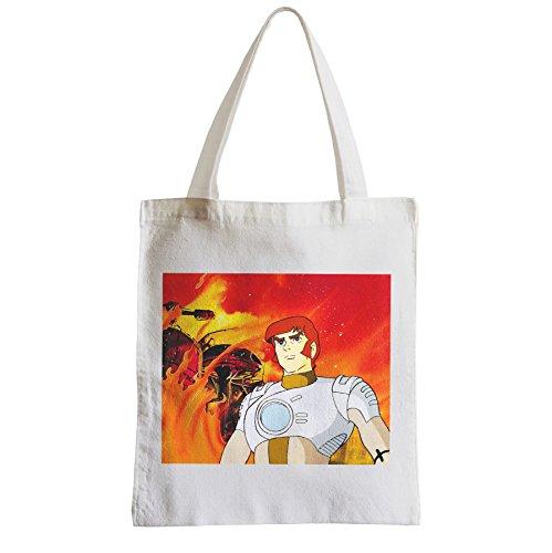 Grand Sac Shopping Plage Etudiant capitaine flam dessin anime jeunesse annee 80 tv manga