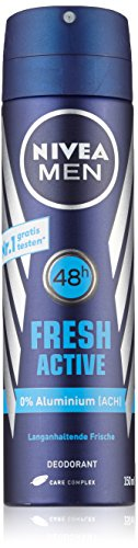Nivea Men Deo Fresh Active Spray, ohne Aluminium, Doppelpack, 1er Pack (2 x 150 ml)