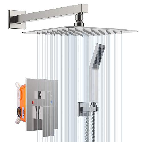 """S R SUNRISE Duschsystem - gebürstetes Nickel-Duschhahn-Set für Badezimmer - hochmoderne Air Injection-Technologie - 12\"""" quadratischer Regenduschkopf - einfache Installation - umweltfreundlich"""