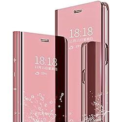 MLOTECH Coque pour Samsung S7 Flip Clear View Translucide Miroir Cover + Verre trempé Film Protecteur Standing 360°Housse étui Antichoc Smart Cover Bumper Or Rose
