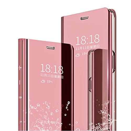 MLOTECH Funda Xiaomi Mi 8 Flip Clear View Translúcido Espejo Standing Cover + Cristal Templado Slim Fit Anti-Shock Anti-Rasguño Mirror 360°Protectora Cubierta Oro Rosa