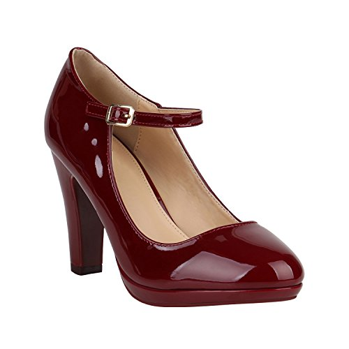 Damen Pumps Mary Janes Blockabsatz High Heels T-Strap 155276 Dunkelrot Lack Agueda 37 - Mary Jane-schuhe Rot Damen