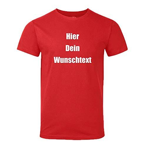 Tyoby Herren Zeitgenössisch Hier Dein wunschtext T-Shirt Bedrucken,Elastizität Weich Tops(rot,S)