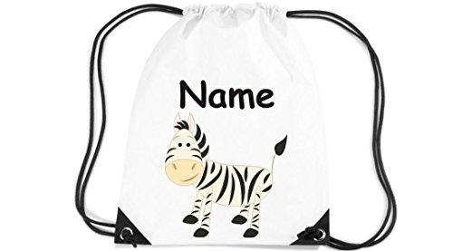 Kinder-Gym-Sack-Turnbeutel-Zebra-mit-Wunschnamen