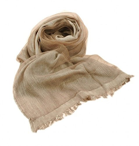 Prettystern - seta e cotone a doppia palla 190cm casual lavato foulard sciarpa feste & tempo libero -17. caffè marrone chiaro