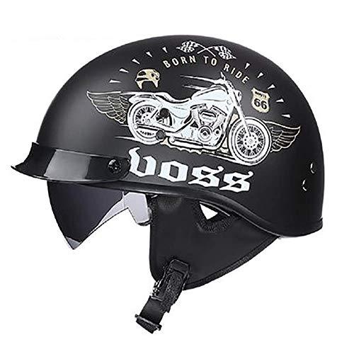 LALEO Retro Harley Open Face Casco da Moto, Graffiti di personalità Removibile Traspirante Mantieni Caldo Adatto per Donna e Uomo Adulto, Casco Jet, Omologato ECE M-XXL (55-62cm),Motorcycle,M