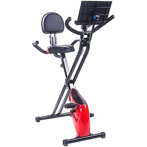 BTM bicicleta estática magnética plegable, para fitness, ejercicio de cardio, pérdida de peso, máquina con soporte para iPad Red