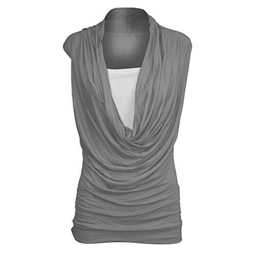 New Women Ruched Cowl Neck Vest 2 in 1 Tunic Sleeveless Jersey Tank Top (40-42, CHARCOAL) (Cowl Damen Shirt Neck)