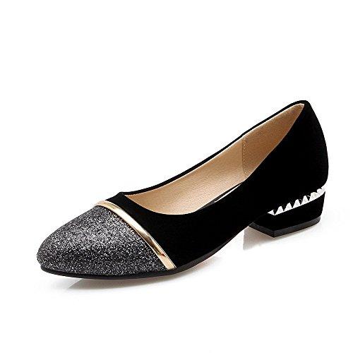 VogueZone009 Damen Blend-Materialien Ziehen Auf Rund Zehe Niedriger Absatz Pumps Schuhe Schwarz