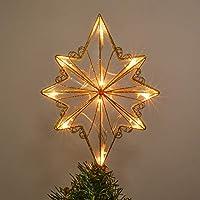 Valery Madelyn 31cm Topper de Árbol de Navidad Dorado con Brillo de Brillo de Lujo, Estrella de Metal con 10 Luces LED cálidas, Funciona con batería (batería no incluida, Invierno espumoso)
