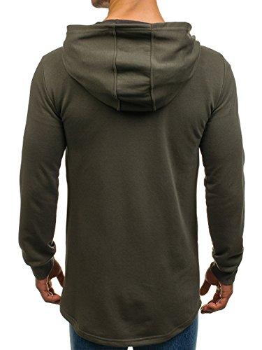 BOLF Felpa – Con cappuccio – Infilabile dalla testa – Allungata – Con stampe – Stile street – Da uomo 1A1 Verde