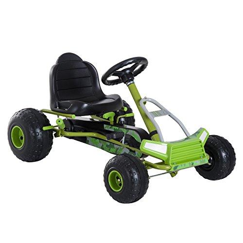 HOMCOM Kinder Go Kart Tretauto Pedalfahrzeug mit Handbremse und verstellbarem Sitz ab 3 Jahre Grün 95 x 66,5 x 57cm