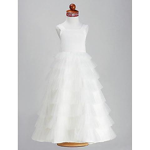 ZY/cinghie a-line principessa quadrato polpaccio raso tulle Flower Girl Dress, White, child-14